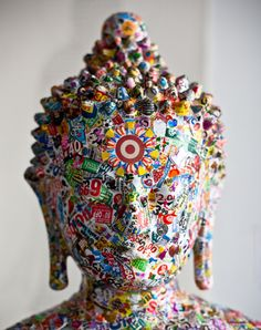 buddha clad in pop culture icons by gonkar gyatso - designboom | architecture & design magazine