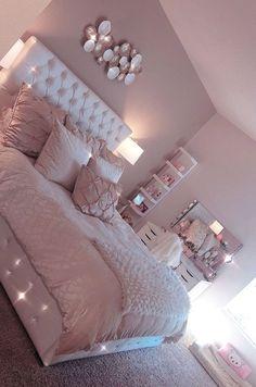Pink Bedroom Design, Teen Bedroom Designs, Cute Bedroom Ideas, Cute Room Decor, Room Ideas Bedroom, Home Decor Bedroom, Bed Room, Bedroom Furniture, Master Bedroom