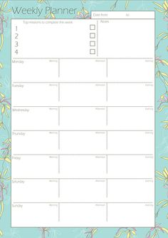Printable Weekly Planner Bright Colourful Contemporary Florals via Etsy