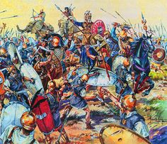Battle of Ilipa. Carthaginians and Iberian allies battle Roman invaders. Some consider this battle to be Scipio's greatest victory.