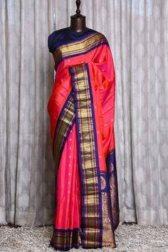 Gadwal Sarees Silk, Silk Saree Kanchipuram, Indian Silk Sarees, Saree Look, Indian Designer Outfits, Half Saree, Cotton Pants, Orange Pink, Saree Wedding