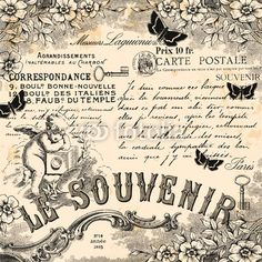 """Wall Mural """"memory, souvenir, memento - le souvenir"""" ✓ Easy Installation ✓ 365 Day Money Back Guarantee ✓ Browse other patterns from this collection! Decoupage Vintage, Papel Vintage, Decoupage Paper, Vintage Diy, Vintage Labels, Vintage Ephemera, Vintage Cards, Vintage Postcards, Vintage Paper Crafts"""