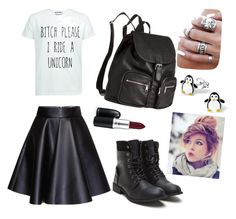 """Badassness and penguins"" by cozyncomfy on Polyvore featuring MSGM, H&M and MAC Cosmetics"