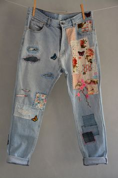 Vintage Distressed Boyfriend Jeans/Hipster Jeans/All Sizes/Grunge Jeans/boho/vin. Vintage Distressed Boyfriend Jeans/Hipster Jeans/All Sizes/Grunge Jeans/boho/vintage jeans/womens j Jeans Grunge, Hipster Jeans, Hipster Grunge, Sexy Jeans, Casual Jeans, Ripped Jeans, Women's Jeans, Denim Leggings, Patch Jeans