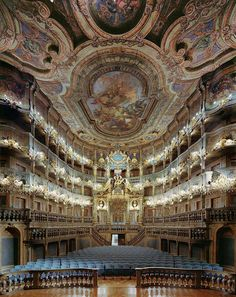 Amazing baroque architecture inside Margravial Opera House in Bayreuth, Germany (by VitalySky). Saw opera Loeingrin at this opera house. Sat in Hitler's box seats. Baroque Architecture, Beautiful Architecture, Beautiful Buildings, Theatre Architecture, Beautiful World, Beautiful Places, Concert Hall, Opera House, Around The Worlds