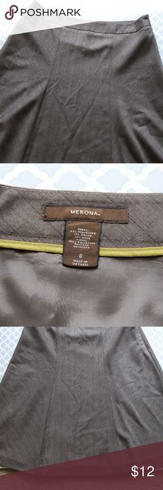 Merona A-line Skirt Brown a-line skirt with zipper on the side and lining.  Size 8  69% polyester 19% rayon 12% wool Merona Skirts A-Line or Full