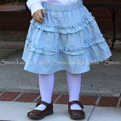 12/3/12  Light Blue Cord Ruffle Skirt
