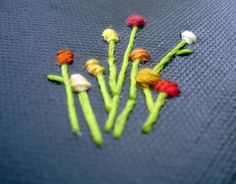 Flower Buds Hand Embroidery on Canvas by Eyespot Designs on Etsy $20 #flowers #stitch