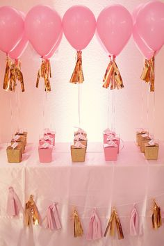 Beautiful pink and gold themed party favors act as weights to helium balloons. Pink Gold Party, Gold Birthday Party, Baby Girl Birthday, Birthday Balloons, First Birthday Parties, Birthday Party Themes, First Birthdays, Birthday Ideas, Birthday Favors