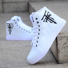 Fashion Men's Shoes Hot Sale White High-top Casual Canvas Shoes Men Korean Version Of The Trend Sneakers Trainers Leisure Shoes - Men's style, accessories, mens fashion trends 2020 Mens Fashion Shoes, Men S Shoes, Sneakers Fashion, Men Shoes Casual, Fashion For Men, Casual Outfits, Skull Fashion, White Casual Shoes, Emo Outfits
