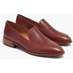 MADEWELL The Frances Loafer (8.430 RUB) ❤ liked on Polyvore featuring shoes, loafers, burnished mahogany, genuine leather shoes, leather loafer shoes, loafer shoes, slip on loafers and leather shoes