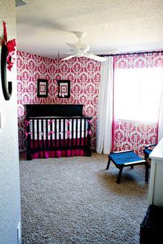 caroline's pink damask nursery (DIY stenciled walls)
