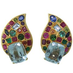 Marilyn Cooperman Multicolor Gemstone Gold Earrings | From a unique collection of vintage more earrings at http://www.1stdibs.com/jewelry/earrings/more-earrings/