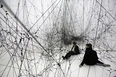 """Tomas Saraceno - 14 Billion (2010)    In collaboration with spider researchers and astrophysicists, the artist spent several years developing the 350 cubic meter installation, which is an oversized model of the web of the Latrodectus Mactans (""""Black Widow"""") Spider.    So. Cool. Click for more pictures."""