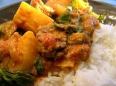 Lamb, Potato & Spinach Curry-sub for chicken though