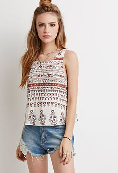 Abstract Floral Ladder-Back Tank   Forever 21 - 2000155663