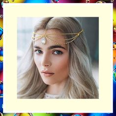 Campsis Festival Crystal Pendant Head Chain Gyspy Headpiece Layered Hair Accessories Jewelry for Women and Girls (Gold) (This is an affiliate pin) #headbands Campsis, Fashion Headbands, Headband Styles, Layered Hair, Crystal Pendant, Headpiece, Women Jewelry, Hair Accessories, Chain