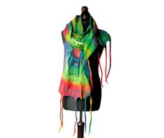 Nuno felted scarf colorful nuno felted collar felted multicolor shawl handmade art to wear rainbow felt winter scarf boho OOAK