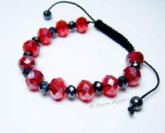Bratara cu cristale negre si rosii, by charm.bijoux, 18 Lei