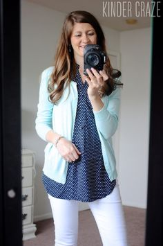 Colibri Sleeveless Top from Market & Spruce with white denim capri pants and a mint cardigan - love the top styled this way too!