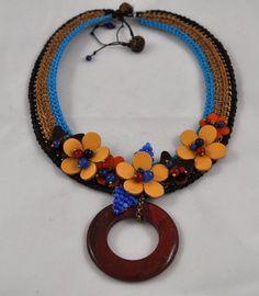 Macrame & leather necklace by Colors Of Etnika Tulsa, Oklahoma www.colorsofetnika.com
