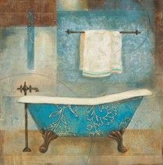 Aqua (Blue) Spa II Poster Print by Carol Robinson x Best Bathroom Plants, Diy Bathroom Decor, Bathroom Art, Bathroom Paintings, Mosaic Bathroom, Bathroom Ideas, Bathrooms, Pictures For Bathroom Walls, Bathroom Prints