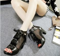 2014 spring and summer Coarse mesh leather shoes with bows Roman shoes women hollow high-heeled sandals