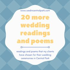 20 More Wedding Readings and Poems from Weddings in Central Park, New York Top Wedding Trends, Wedding Tips, Fall Wedding, Diy Wedding, Wedding Styles, Wedding Ceremony, Dream Wedding, Wedding Readings, Bridal Gifts