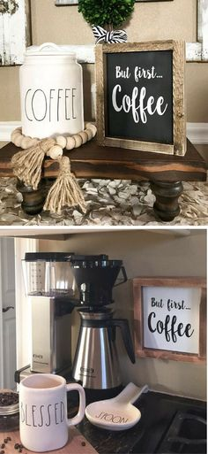 YES! Coffee before anything else! Great mini sign for a coffee bar area in your home! But first coffee sign, kitchen decor, farmhouse kitchen sign, kitchen wall art, coffee sign, rustic kitchen sign, gift idea for the coffee lover!g #ad