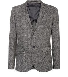 Give a high neck top and skinny jeans combo a more formal feel when paired with this Black Textured Check Blazer - brogues are perfect for finishing the look. £59.99 #newlook #menswear