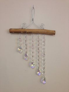 5 Strand Aurora Borealis (AB) and clear Crystal Waterfall Suncatcher Glass Wind Chimes, Diy Wind Chimes, Hanging Beads, Hanging Crystals, Aurora Borealis, Diy Dream Catcher Tutorial, Cristal Art, Kids Crafts, Driftwood Crafts