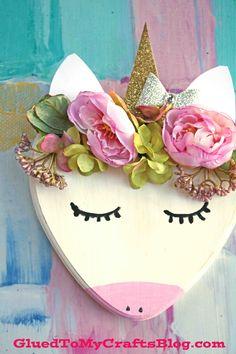 Wooden Heart Plaque - Unicorn Decor Craft Piece