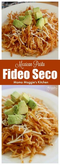 Fideo Seco is a traditional Mexican recipe made of noodles and cooked in a tomato sauce. Mildly spicy and ready in minutes. This dish makes a great side dish or yummy light lunch. by Mama Maggie's Kitchen via @maggieunz #mexicanfood #mexicanrecipes #mexicancuisine #sidedish #recipe