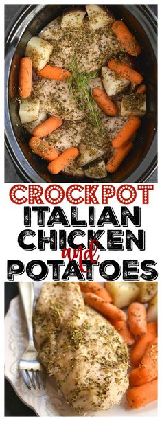 Crockpot Italian Chicken & Potatoes Chicken, Carrots & Potatoes made in a slow cooker! This Crockpot Italian Chicken & Potatoes makes the most tender chicken. An EASY, dinner packed with flavor that will. Crock Pot Recipes, Slow Cooker Recipes, Crockpot Recipes Gluten Free, Healthy Crockpot Chicken Recipes, Low Calorie Chicken Recipes, Low Calorie Potato Soup Recipe, Italian Recipes Crockpot, Crockpot Chicken Dinners, Crockpot Ideas