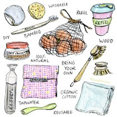 World Environmental Day - small ways to reduce your (plastic) waste - illustration by Cindy Mangomini