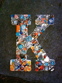 Handmade mosaic letter k, vintage jewelry