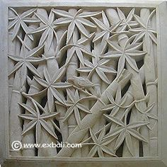 Wall mural with Bamboo motif Wood Carving Designs, Wood Carving Art, Stone Carving, Wood Carvings, Mural Painting, Mural Art, Plaster Art, 3d Wall Murals, Stone Panels