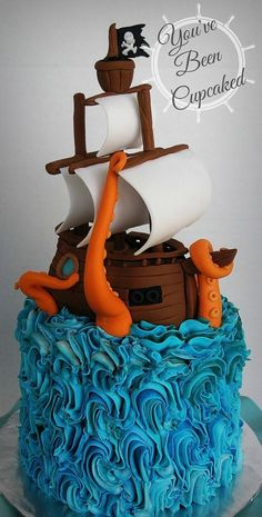 "The theme for this birthday cake was ""Pirates"" but my client was excited that I wanted to make a ship being attacked by a giant octopus. I had SO much fin making this cake. Aside from the skewer-supports holding up the masts, everything is edible. Crazy Cakes, Fancy Cakes, Cute Cakes, Pirate Ship Cakes, Easy Pirate Cake, Pirate Boat Cake, Pirate Birthday Cake, Birthday Cakes, Art Festa"
