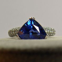 3.76ct Estate Natural Sapphire & Diamond Ring 18k White Gold