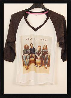 NWT Fall Out Boy Cover Pop Punk Rock Women Fashion T shit V Neck Size S,M,L
