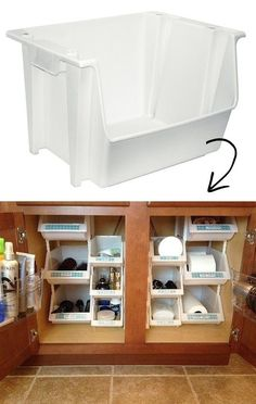 Awesome Stacking Bin| 12-Genius-Storage-Inventions- 12 Genius Ideas For Organizing Your Kitchen