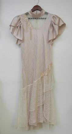 Vintage Dress 80s does 20s Faux Pearls Lace by PinkCheetahVintage, $24.00
