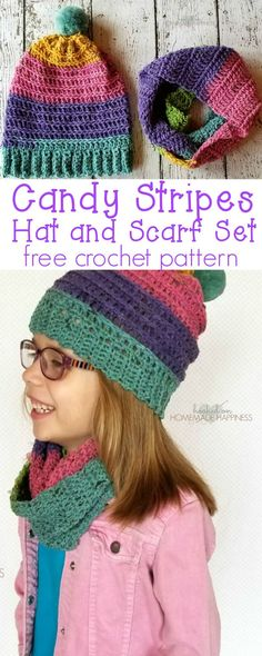 aaba09293a9 Candy Stripes Crochet Hat and Scarf Set Pattern - Hooked on Homemade  Happiness Caron Cupcakes