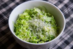 Shredded Raw Brussel Sprouts with Pecorino, Lemon and Olive Oil | SALAD for President