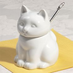 Cat Porcelain Sugar Bowl