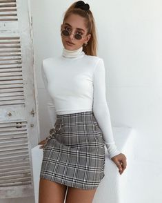 66000b8299 35 Best Checkered skirt ) images in 2017 | Checked skirt outfit ...