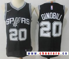 Mens San Antonio Spurs Manu Ginobili Number 20 Jersey Black For ...