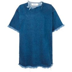 Marques Almeida Denim T-Shirt Dress ($255) ❤ liked on Polyvore featuring dresses, denim blue, tee dress, blue dress, t shirt dress, denim dress and t-shirt dresses