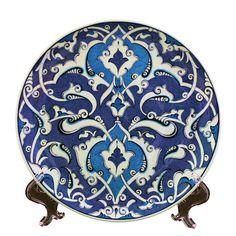Handmade Iznik Cini Ceramic Plate by myusatx on Etsy, Blue Pottery, Pottery Plates, Glazes For Pottery, Ceramic Plates, Ceramic Pottery, Turkish Art, Turkish Tiles, Ceramic Painting, Ceramic Art