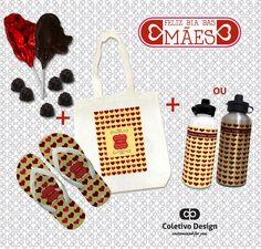 Dia das Mães - Customized For You  Coletivo Design - Ecobag Personalizada + Chinelo Personalizado + Squeeze Personalizado + 2 Pirulitos de Chocolate + 6 Bombons